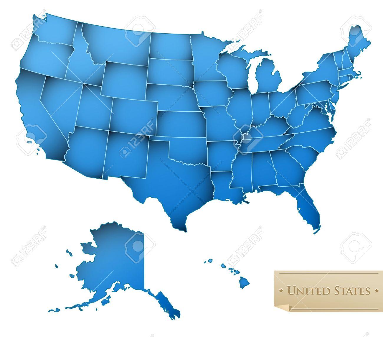Ee Uu Mapa Estados Unidos De América Con Todos Los 50 Estados Color Azul Aislados En Blanco Vector Ilustraciones Vectoriales Clip Art Vectorizado Libre De Derechos Image 11473856