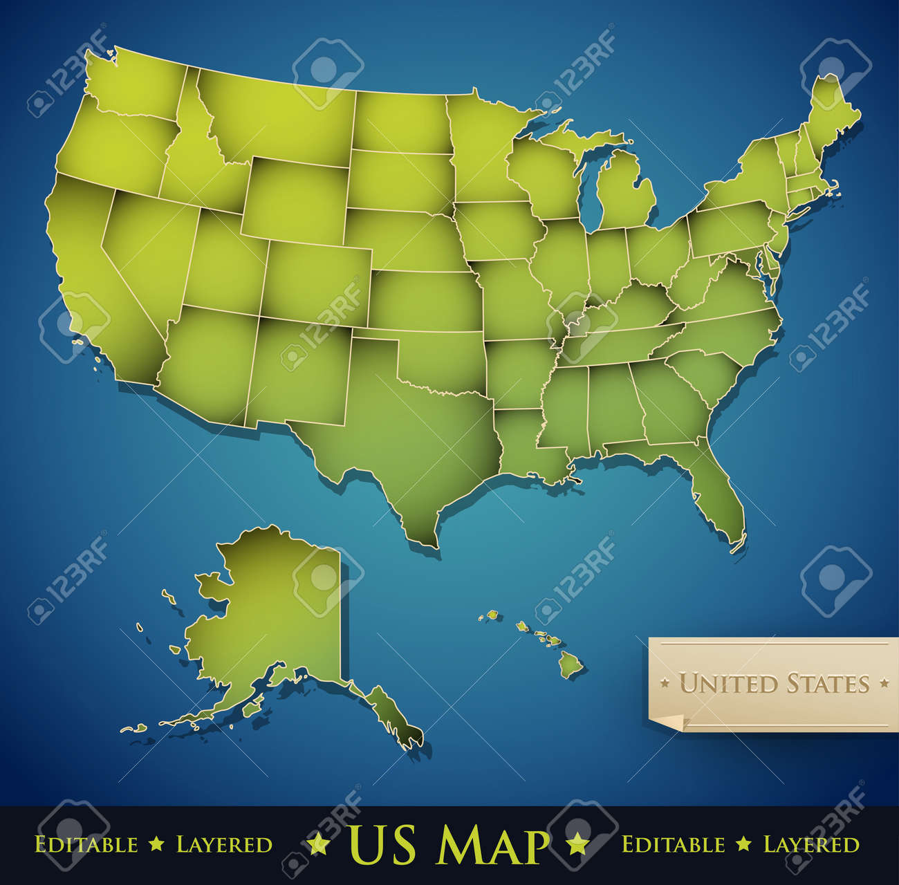 United States Map With All 50 States Separated Vector Royalty Free