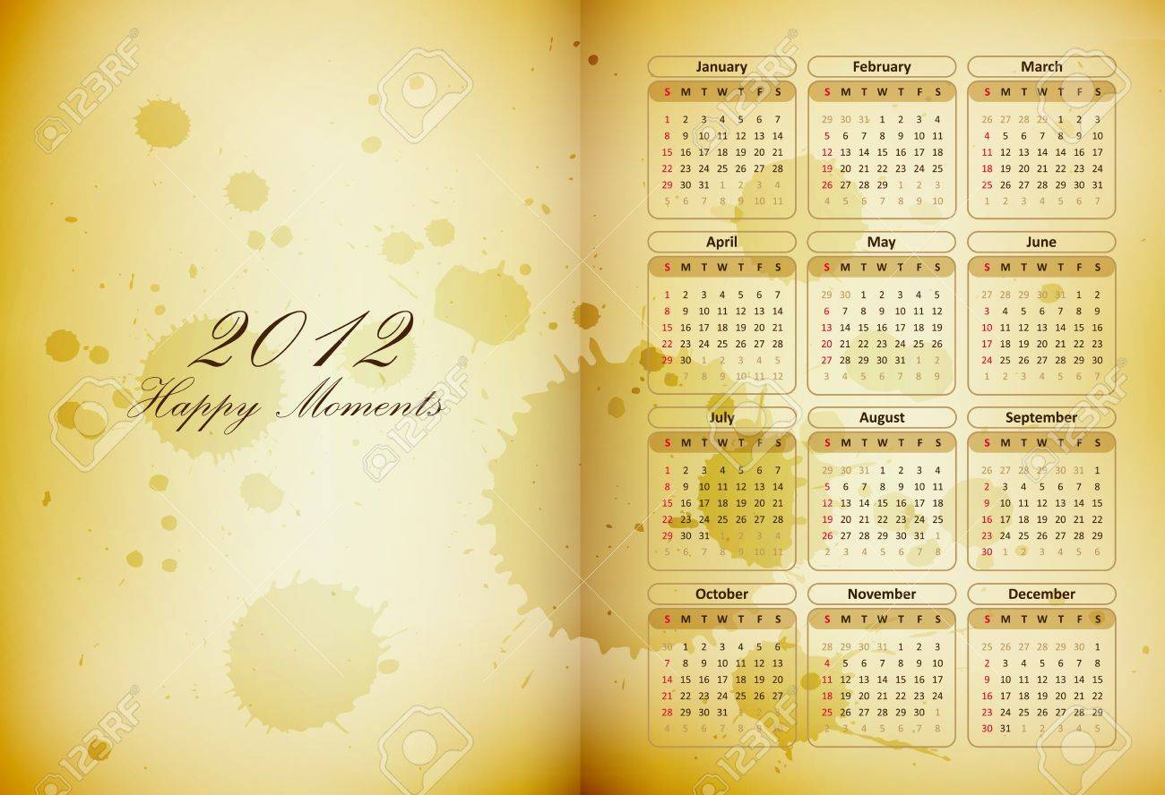 old book page with a calendar and coffee stains - happy moments diary - vector Stock Vector - 11473865