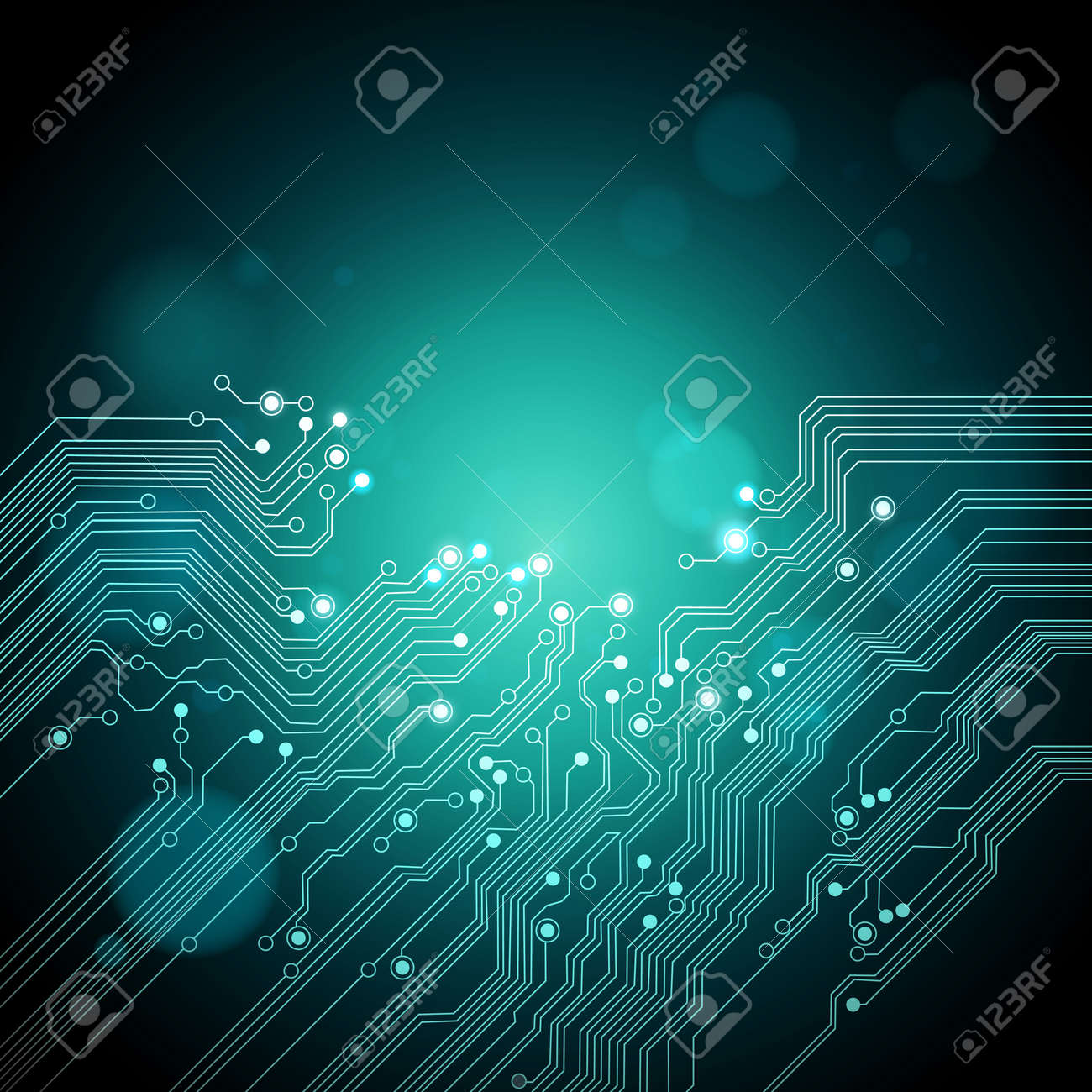 abstract technology background - dark green color - vector - 11578473