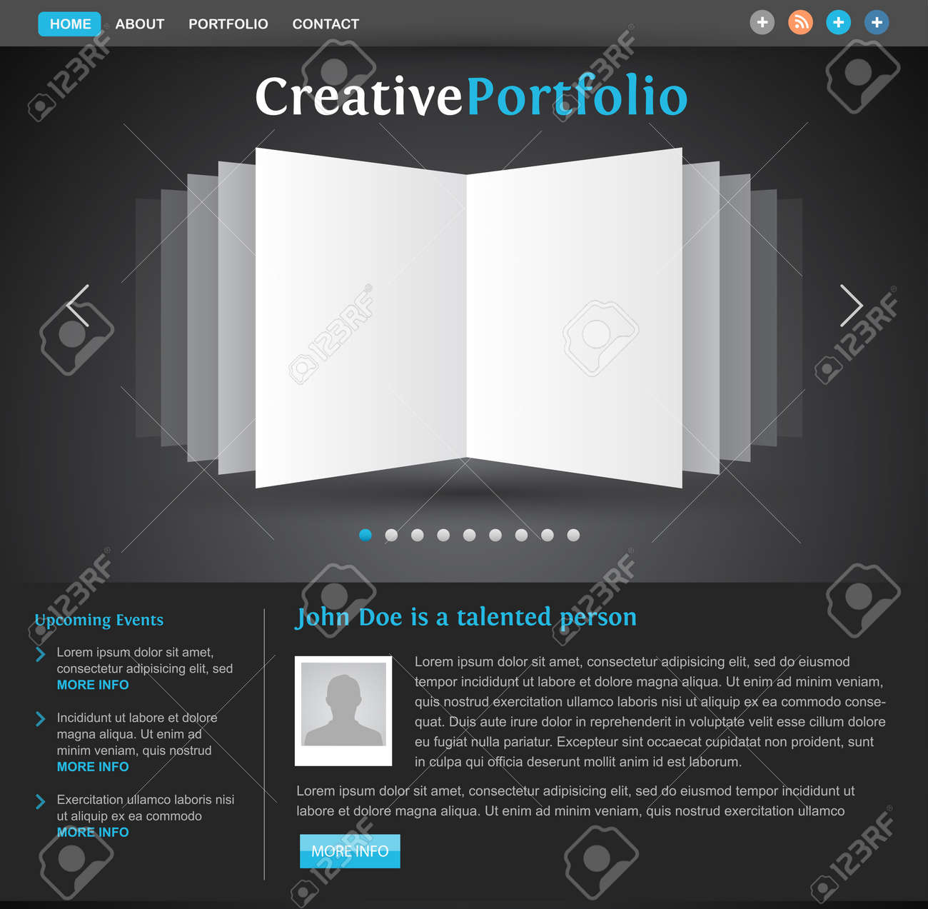 Web Design Portfolio Template - Book Pages View - Creative Layout ...