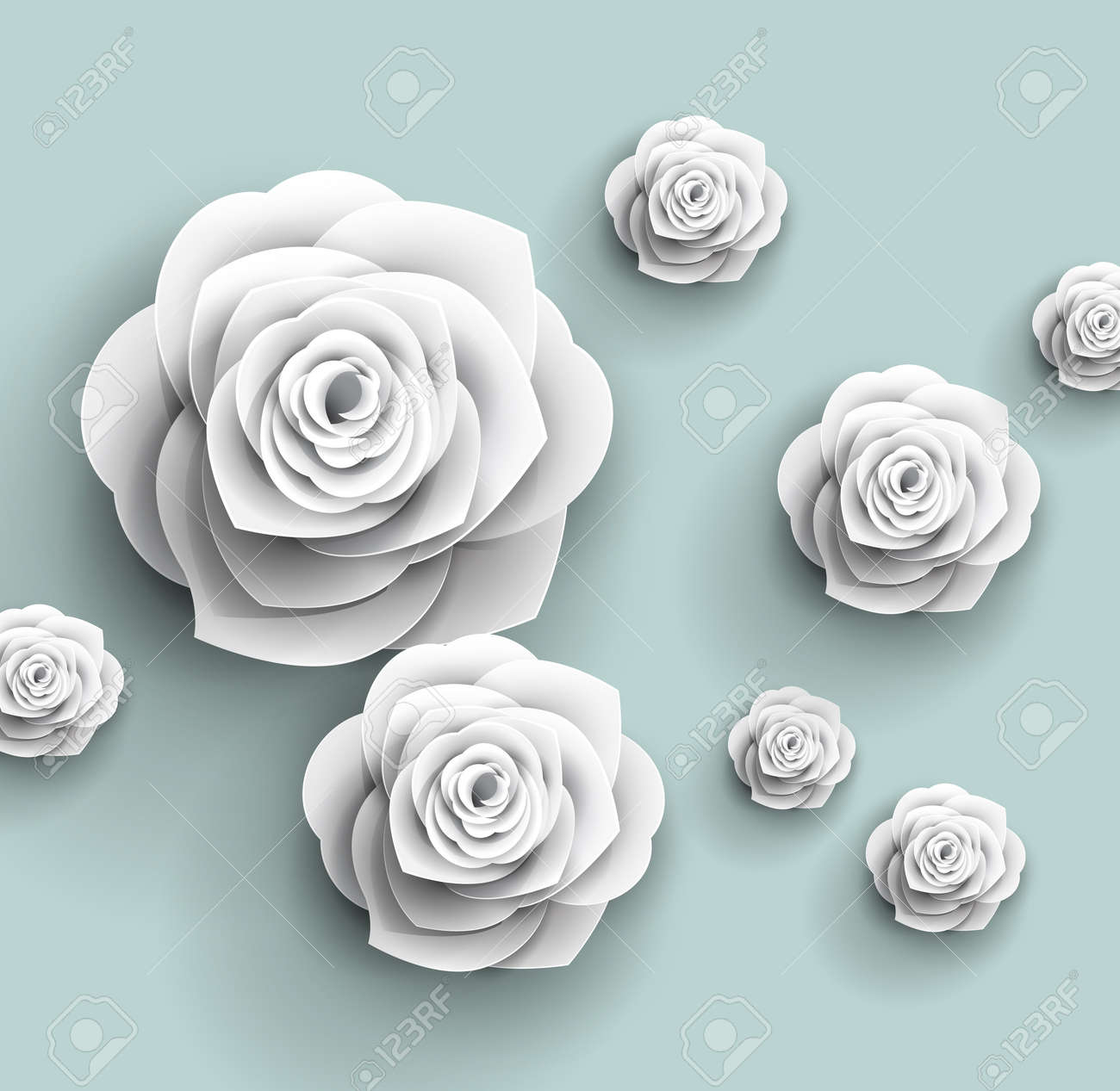 3d Paper Rose Flowers Vector Abstract Background Royalty Free