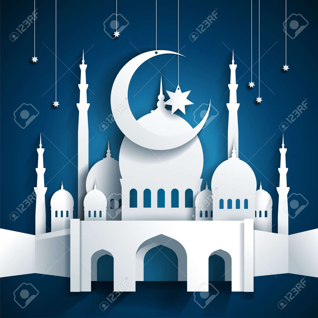 Mosque background for ramadan kareem stock photography image - 3d Mosque And Crescent Moon With Stars Ramadan Kareem Or Ramazan Kareem Background Paper