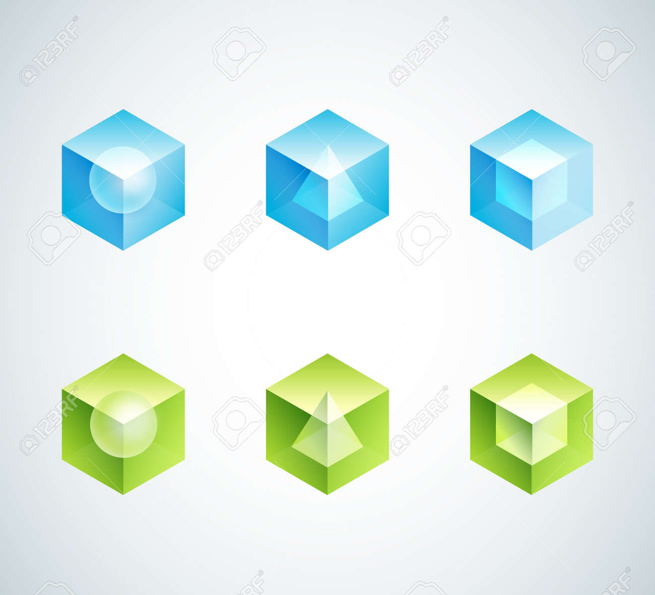 Abstract Cube Icons Shapes Design - Blue And Green Color