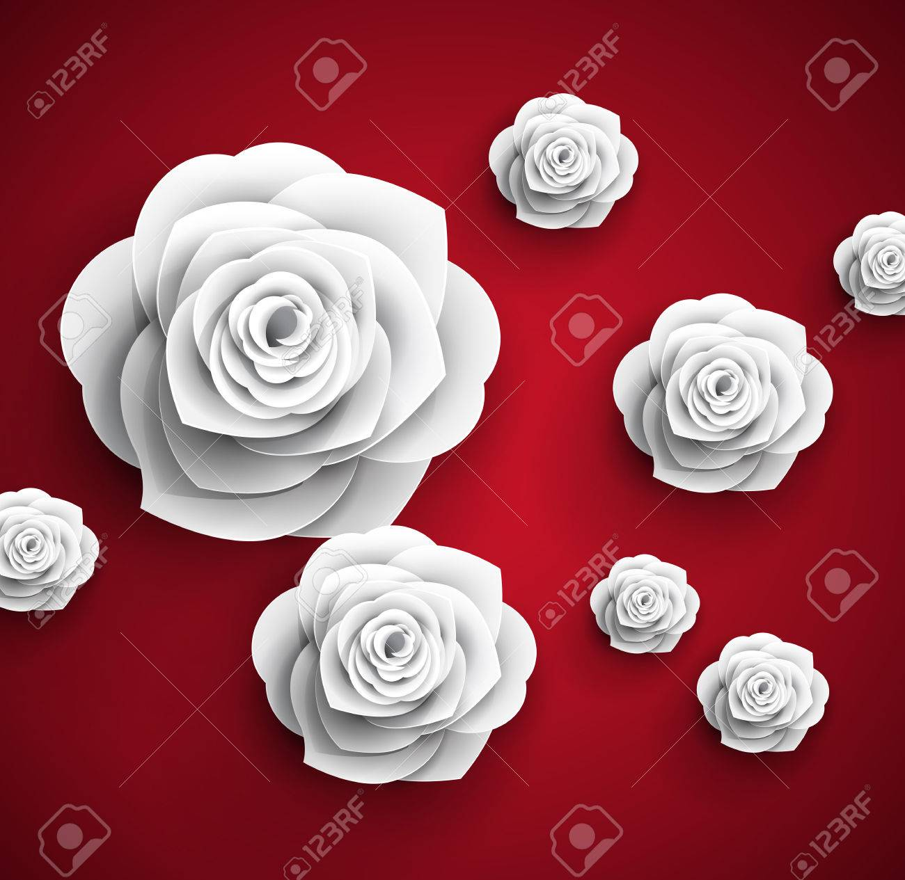 Vector Paper Flowers Roses Abstract Background Royalty Free Cliparts