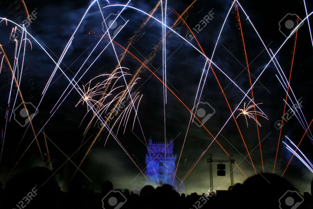 new year fireworks in the night in lisbon near tower belem, portugal Stock Photo - 1962464