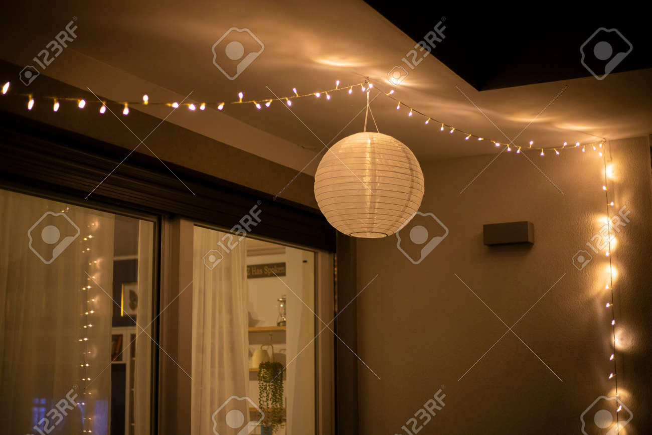 Inspiration Home Decor Idea With String Lights And A Globe Solar Stock Photo Picture And Royalty Free Image Image 151162273