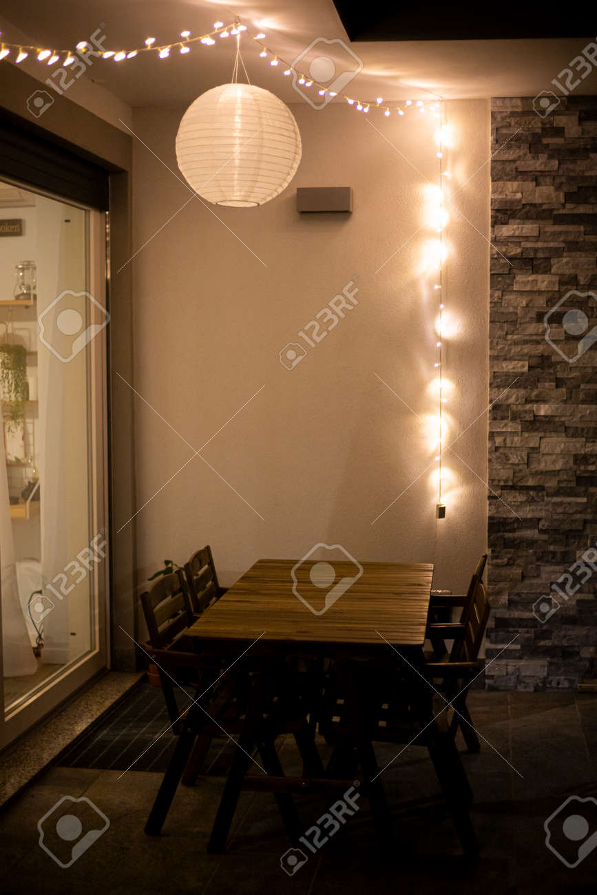 Inspiration Home Decor Idea With String Lights And A Globe Solar Stock Photo Picture And Royalty Free Image Image 151163627