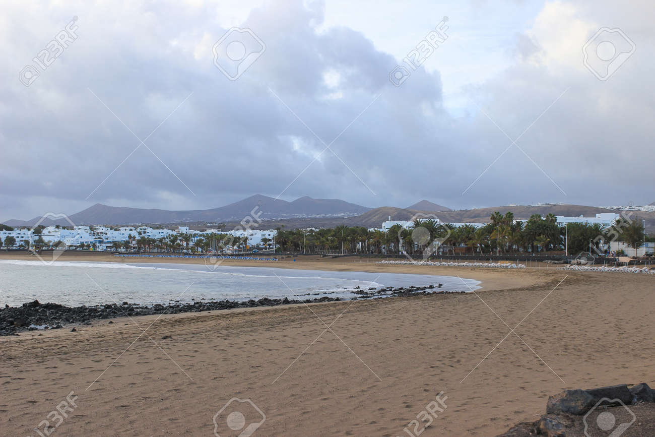 Lanzarote beach, a Spanish island on the Canary Islands in the Atlantic Ocean off the coast of Africa Stock Photo - 28799388