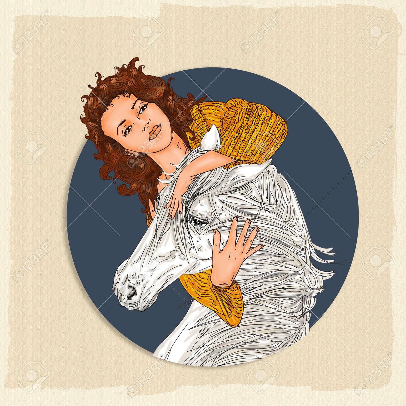Portrait D Une Femme Et Un Cheval Etreindre Avec Un Dessin Anime De