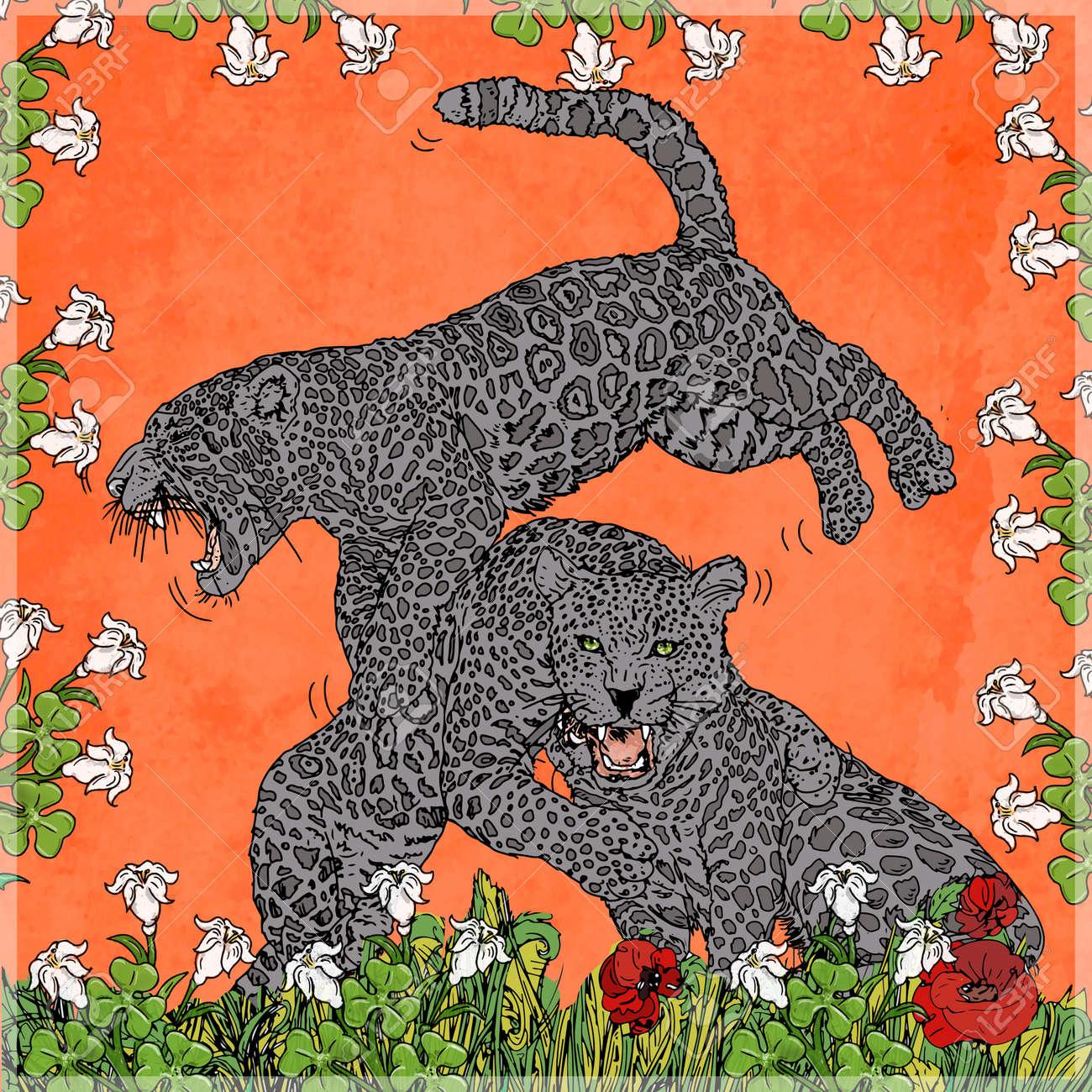Les Pantheres Avec Des Couronnes Et Des Fleurs Fond De Tissu