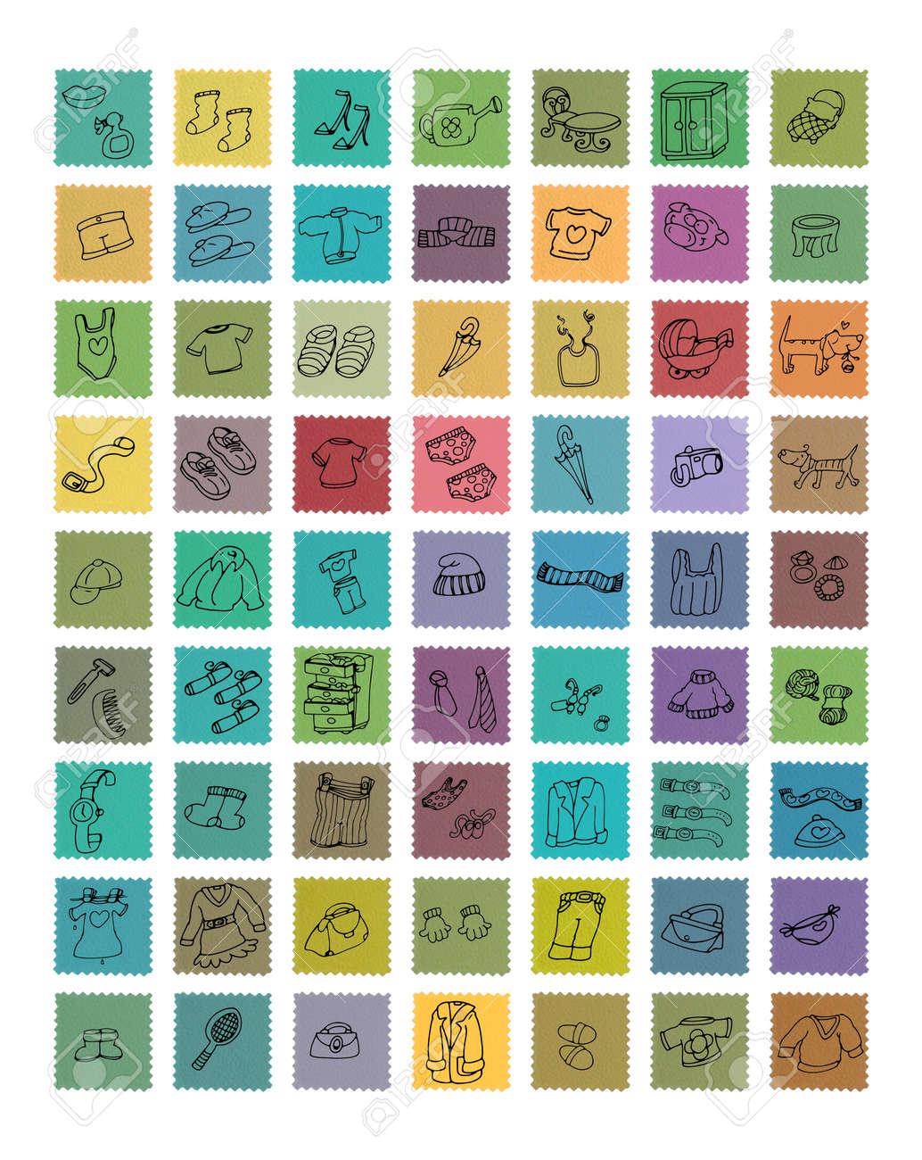 Shaped Icons D  Vintage Postage Stamp, Line Illustration, Umoriste