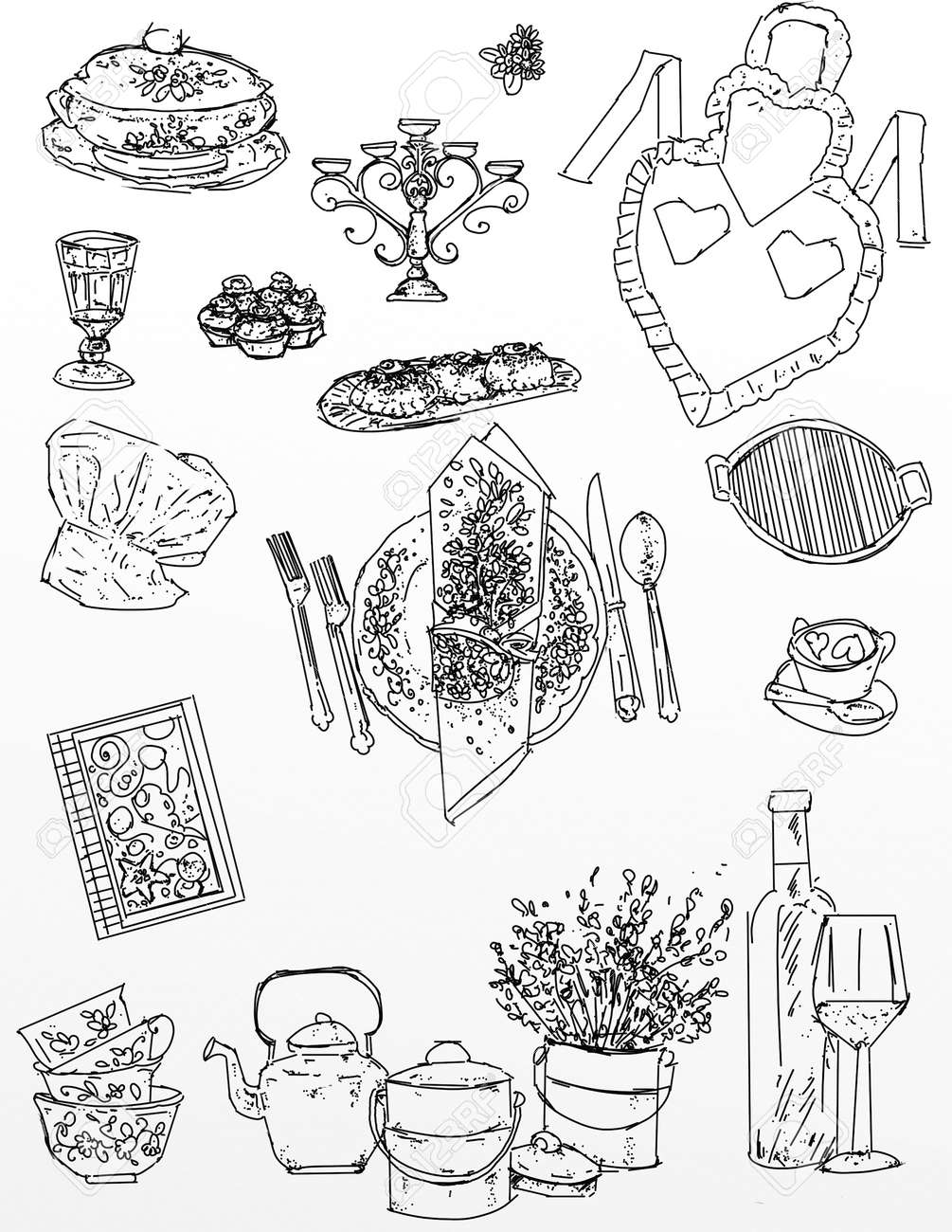 Realistic Drawings On The Stretch Of Kitchen And Food Items Stock Photo Picture And Royalty Free Image Image 88718055