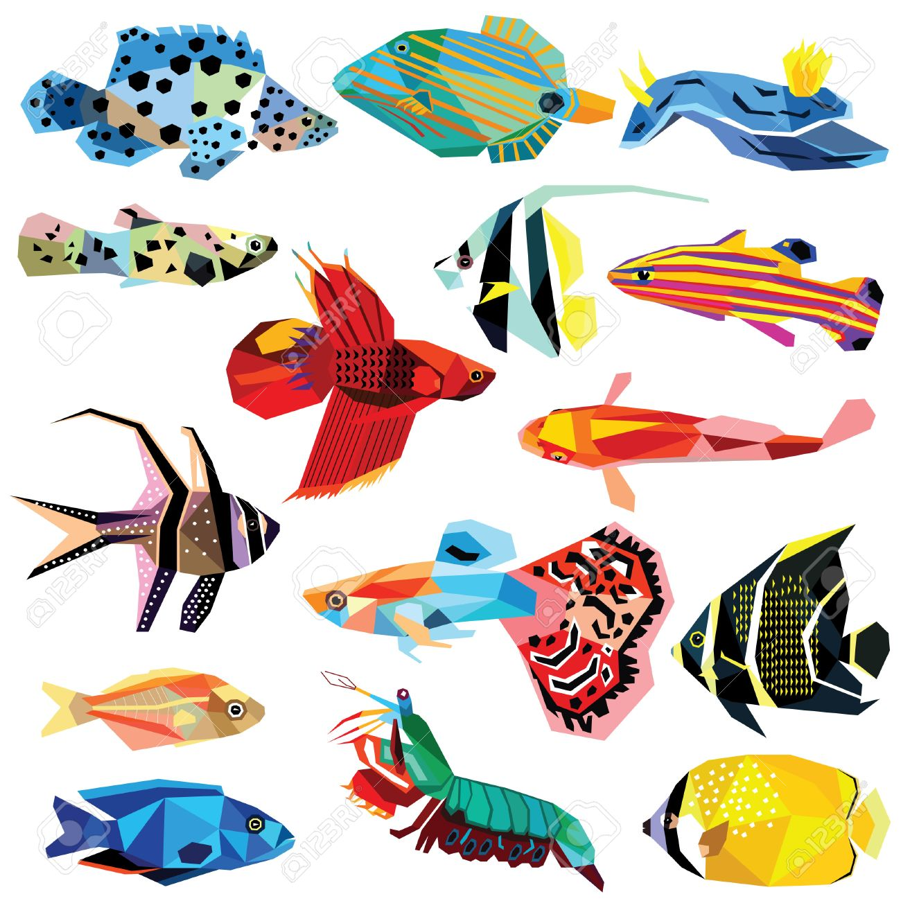 Fish Set Colorful Fish Low Poly Design Isolated On White. Cichlids ...