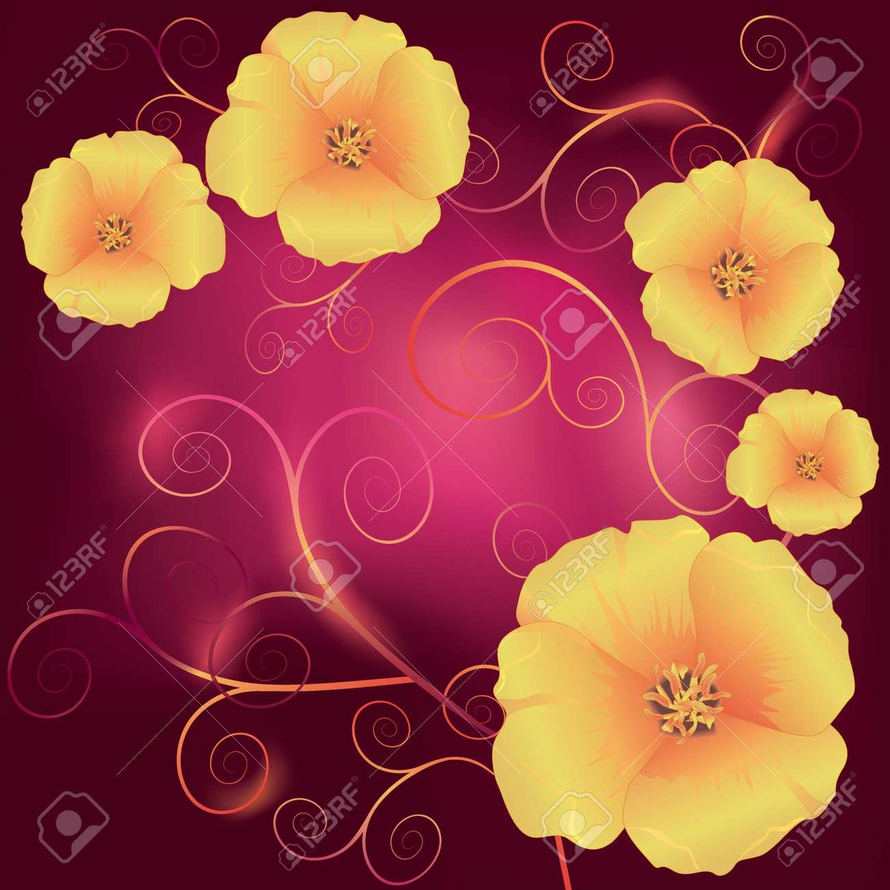 Beautiful california golden poppies official state flower of beautiful california golden poppies official state flower of california and decorative swirls on a dark mightylinksfo