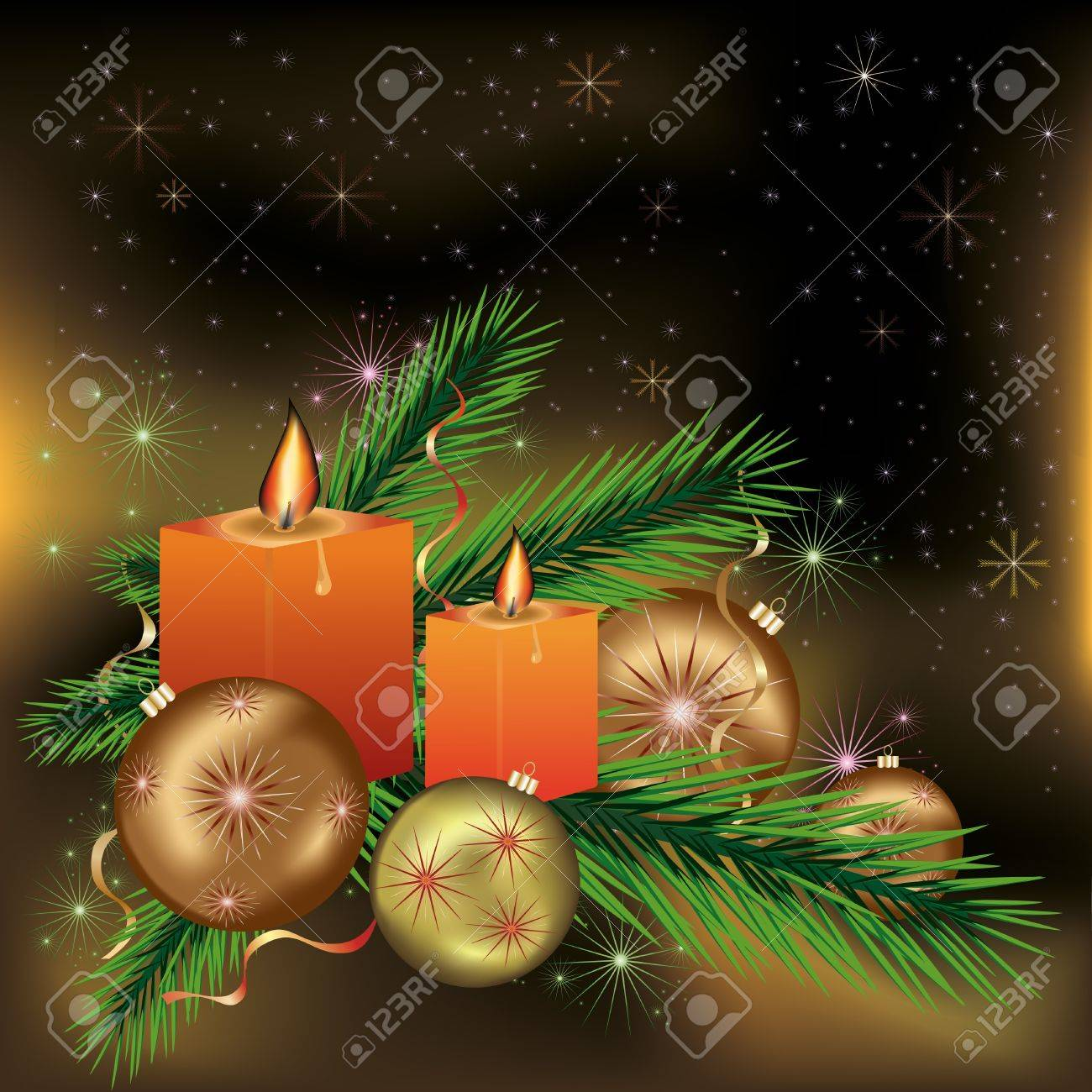 Bright festive New year and Christmas postcard  with candles, branches of a fir-tree, christmas balls, stars and snowflakes. Vector illustration. Stock Vector - 11942133