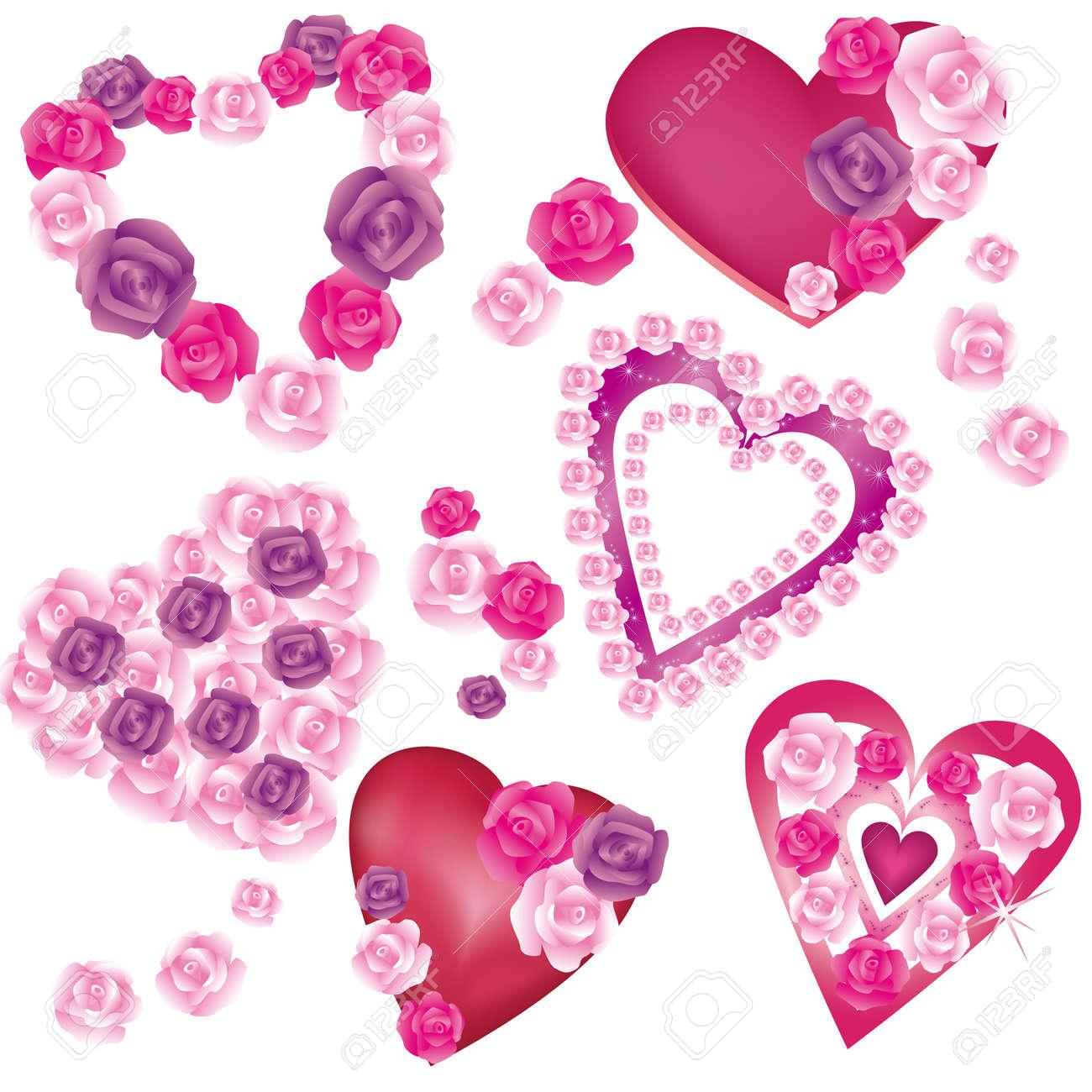 Juego De Corazones Decorativos Con Hermosas Rosas Para El Día De San ...