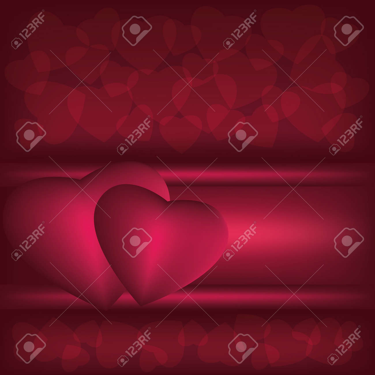 Abstract  dark red background with hearts, vector illustration Stock Vector - 11987063