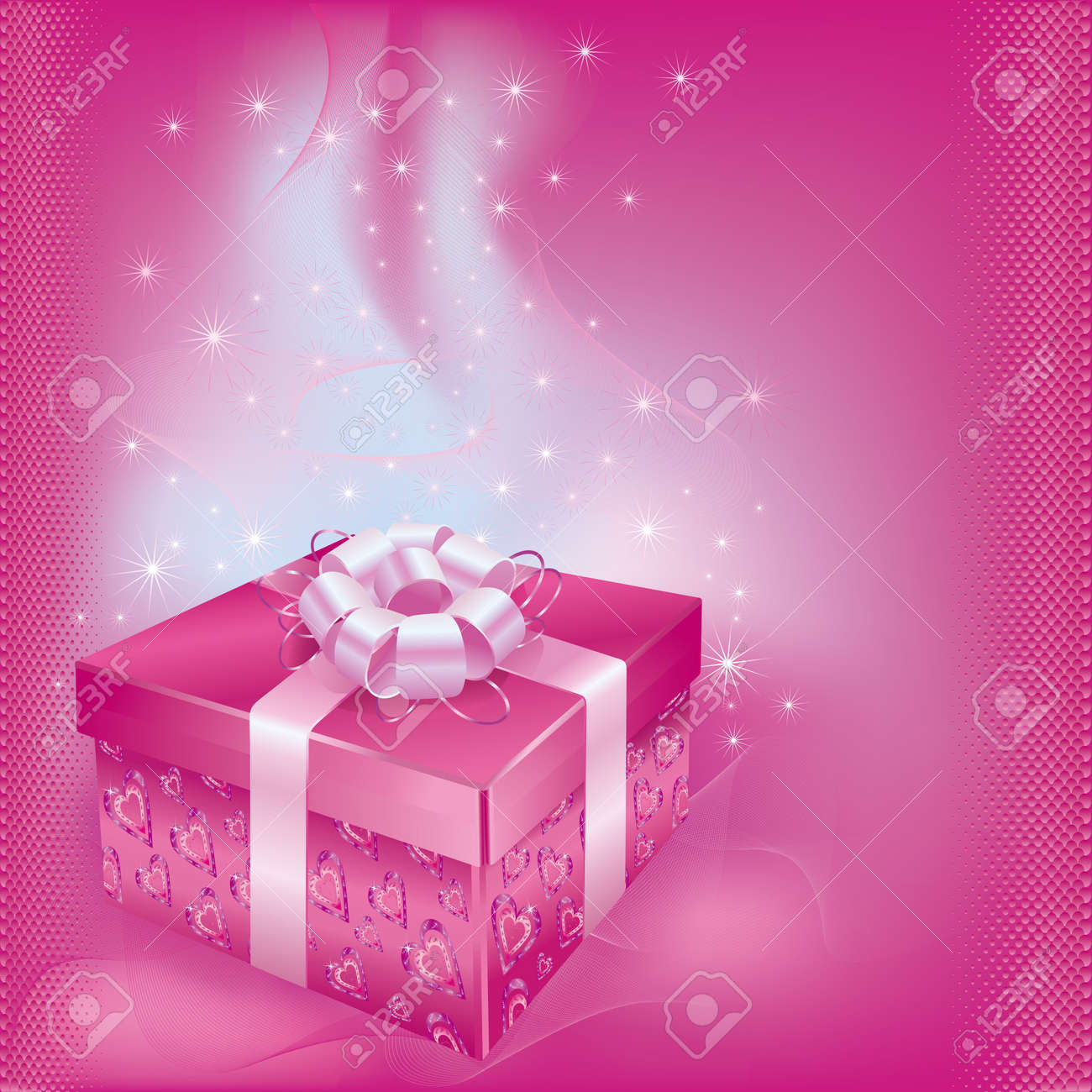 Bright festive card with gift box and decorations on pink bacground for life events  Vector illustration Stock Vector - 12028562