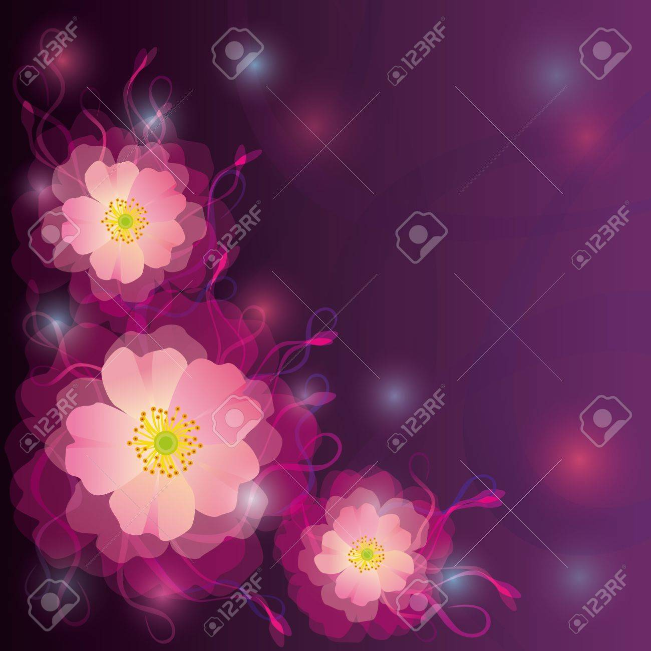 Saludo o violeta tarjeta de invitación con flores y rizos Foto de archivo - 12215993