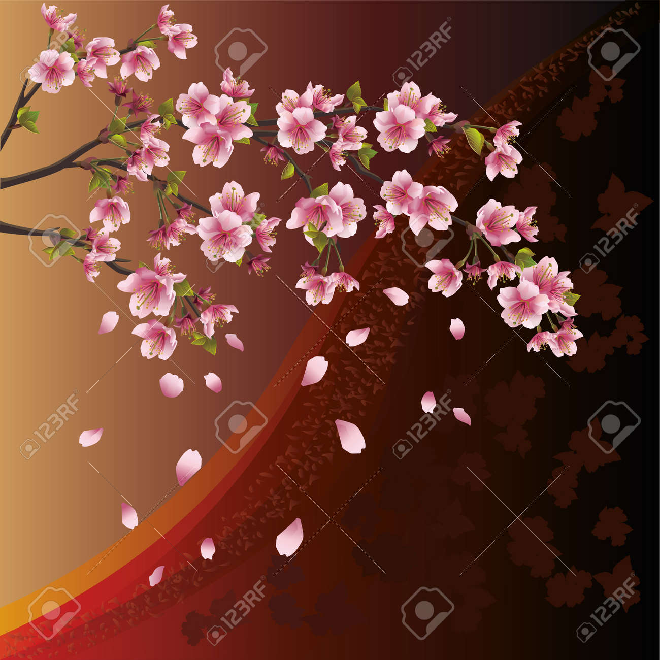 Background with sakura blossom - Japanese cherry tree and pattern Stock Vector - 12482304