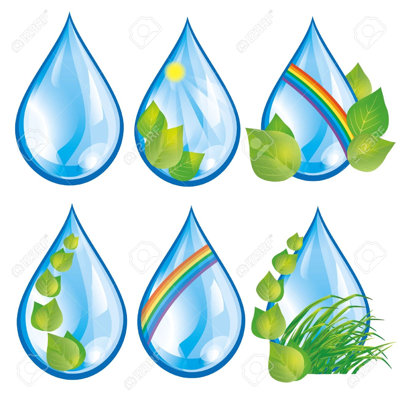 Set of water drops with fresh green leaves and grass, rainbow and sun, isolated on white background  Elements for eco design Stock Vector - 12482374