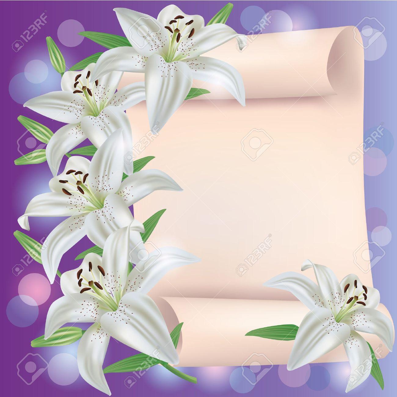 Greeting or invitation card with white lily flowers and paper greeting or invitation card with white lily flowers and paper sheet place for text stock stopboris Choice Image