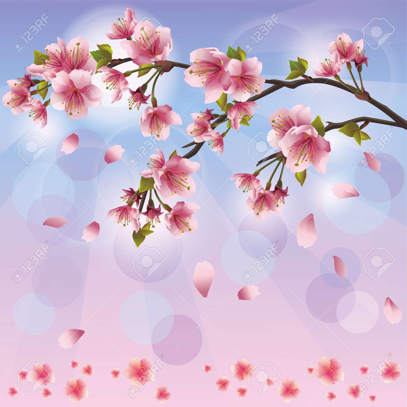 Arbol De Cerezo Japones primavera de fondo con flor de sakura - tarjeta de cerezo japonés árbol,  saludo o invitación