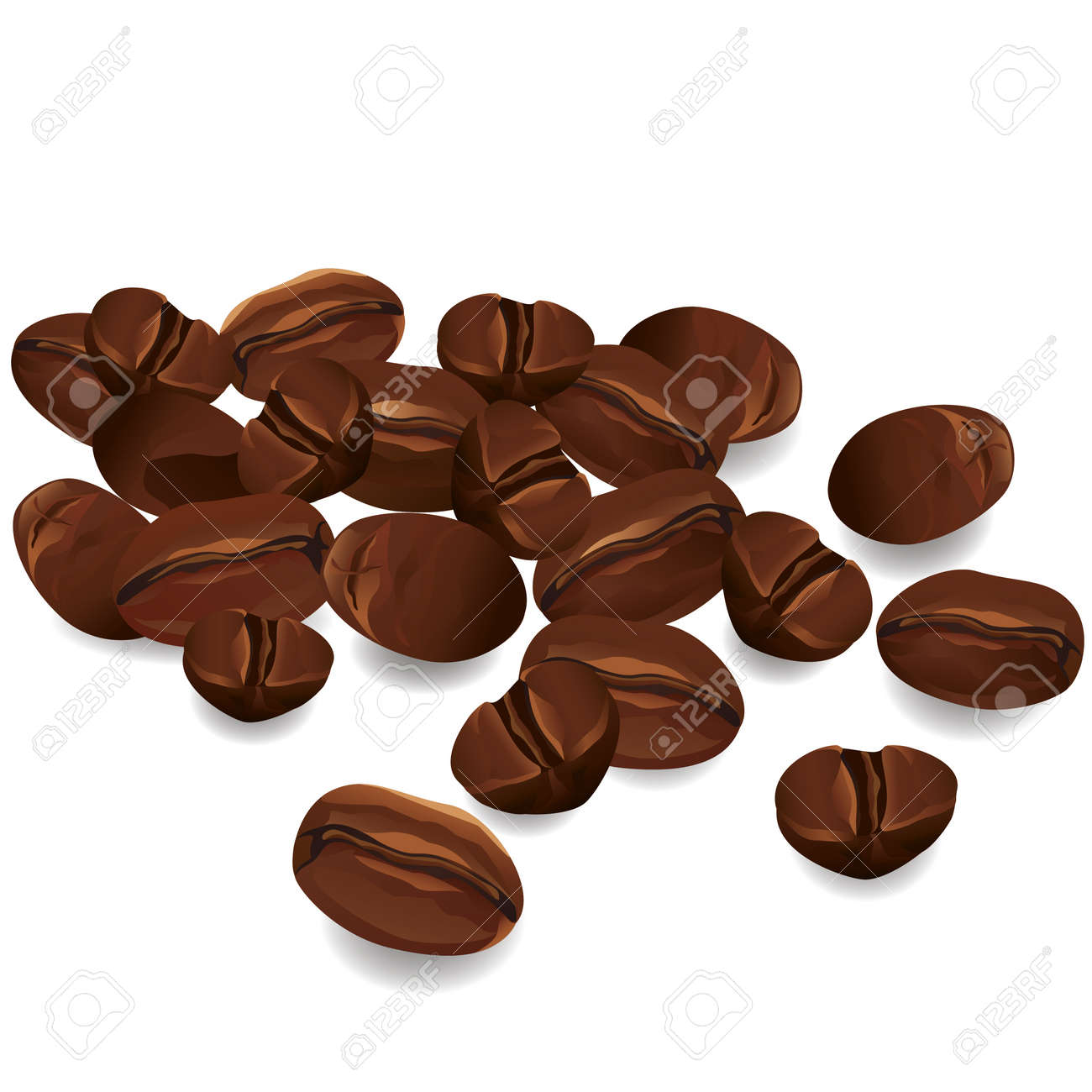 Coffee beans realistic isolated on white background, vector Stock Vector - 12799995