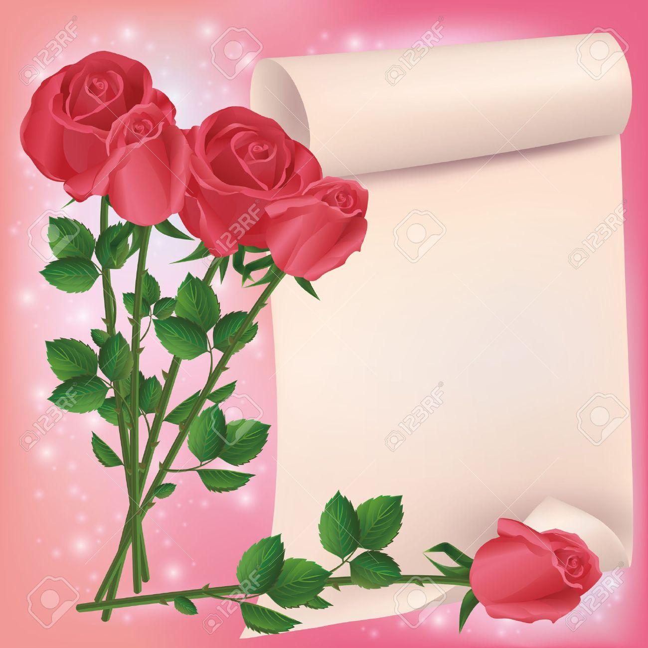 foto de archivo saludo o tarjeta de invitacin con el ramo de rosas rojas y hojas de papel lugar para el texto ilustracin vectorial