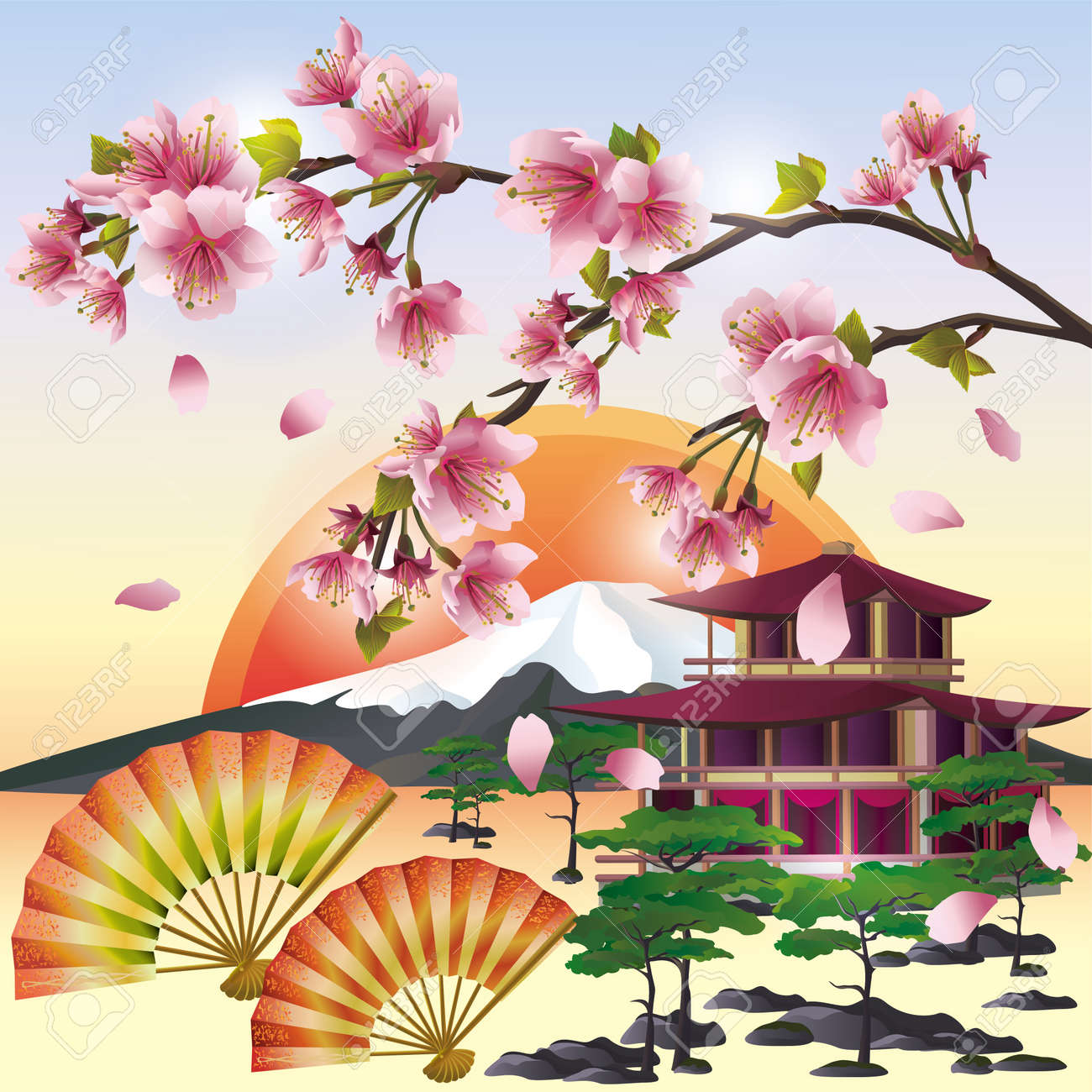 japanese garden japanese background with sakura blossom japanese cherry tree symbol of oriental