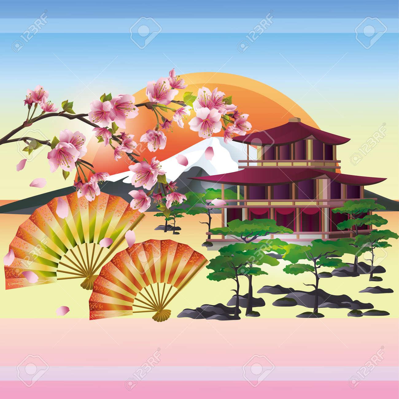 Japanese background with sakura blossom- Japanese cherry tree. Symbol of oriental culture. Japanese landscape, vector illustration. Stock Vector - 13027793