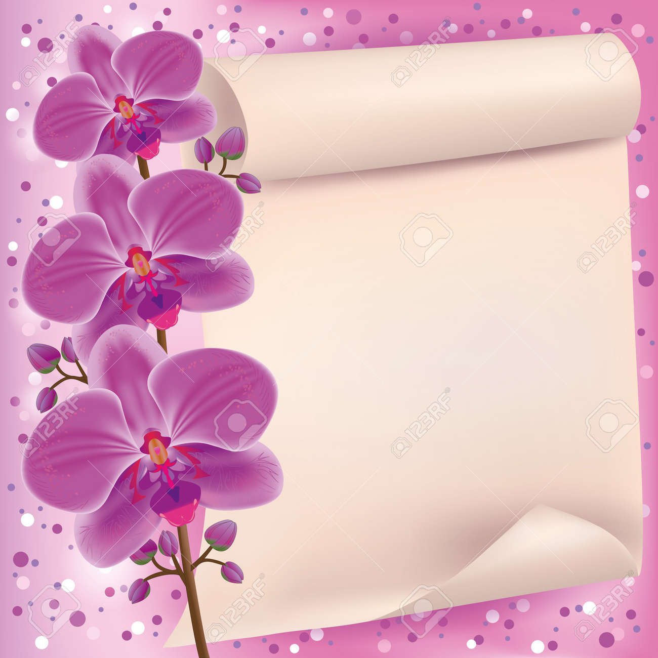 Invitation or greeting card with exotic flower purple orchid and paper - place for text Stock Vector - 13530729