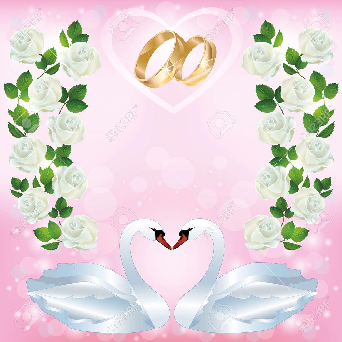 7ef6306acd67 Saludo De La Luz De La Boda De Color Rosa O Tarjeta De Invitación Con Dos  Cisnes Blancos