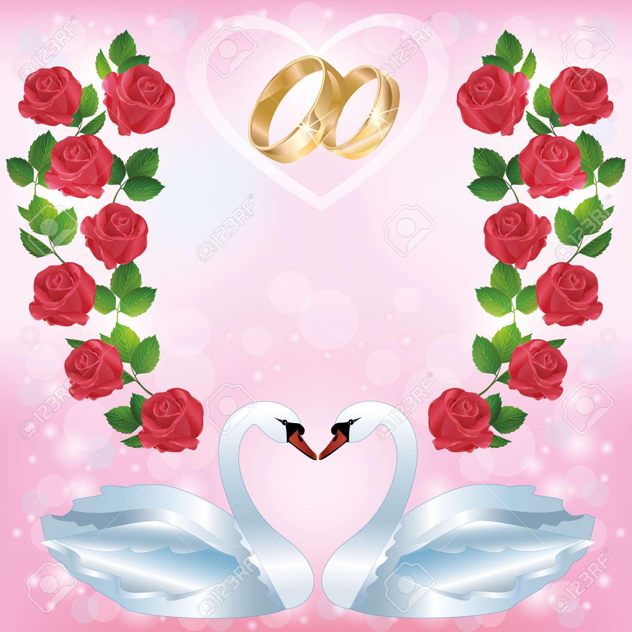 d9d03e14d0f5 Boda de felicitación o tarjeta de invitación con un par de cisnes blancos