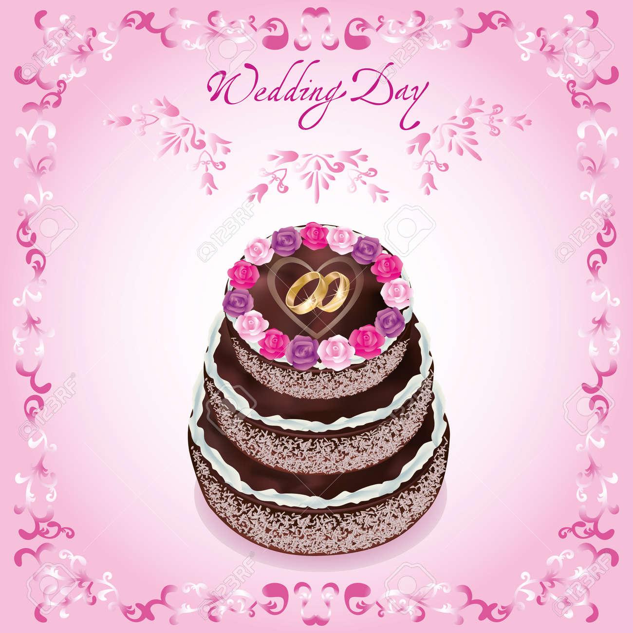 Wedding Greeting Or Invitation Card With Celebratory Cake, Decorated ...