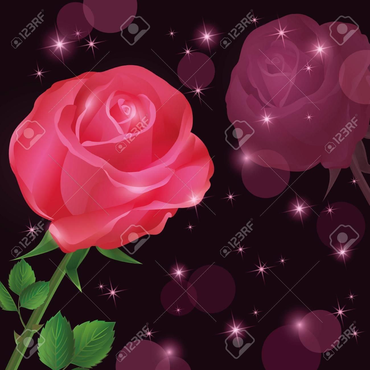 fleur rose rouge carte de fond, de voeux ou d'invitation clip art