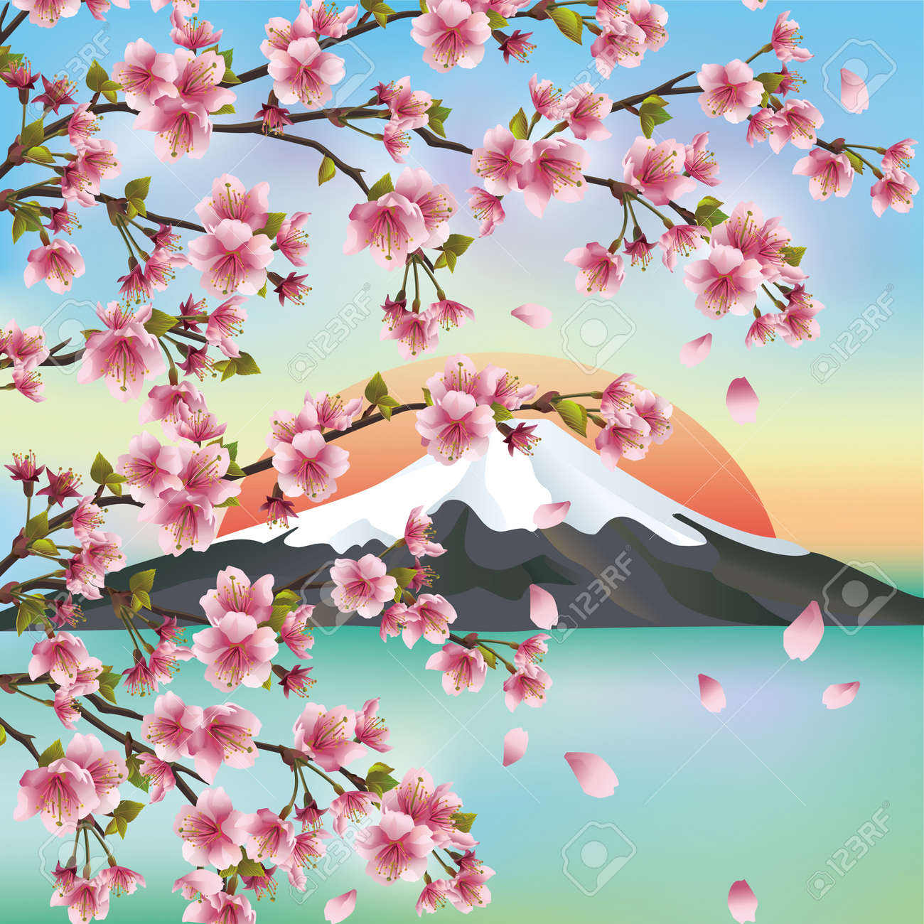 Japanese Background With Mountain And Sakura Blossom Cherry Tree Symbols Of Oriental Culture