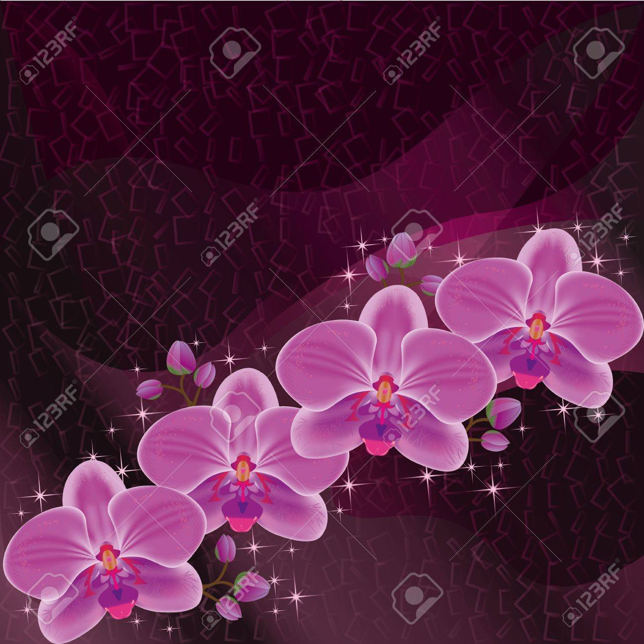 Invitation or greeting card dark red with exotic flower purple orchid, luxury floral background with decorative elements Stock Vector - 14063901