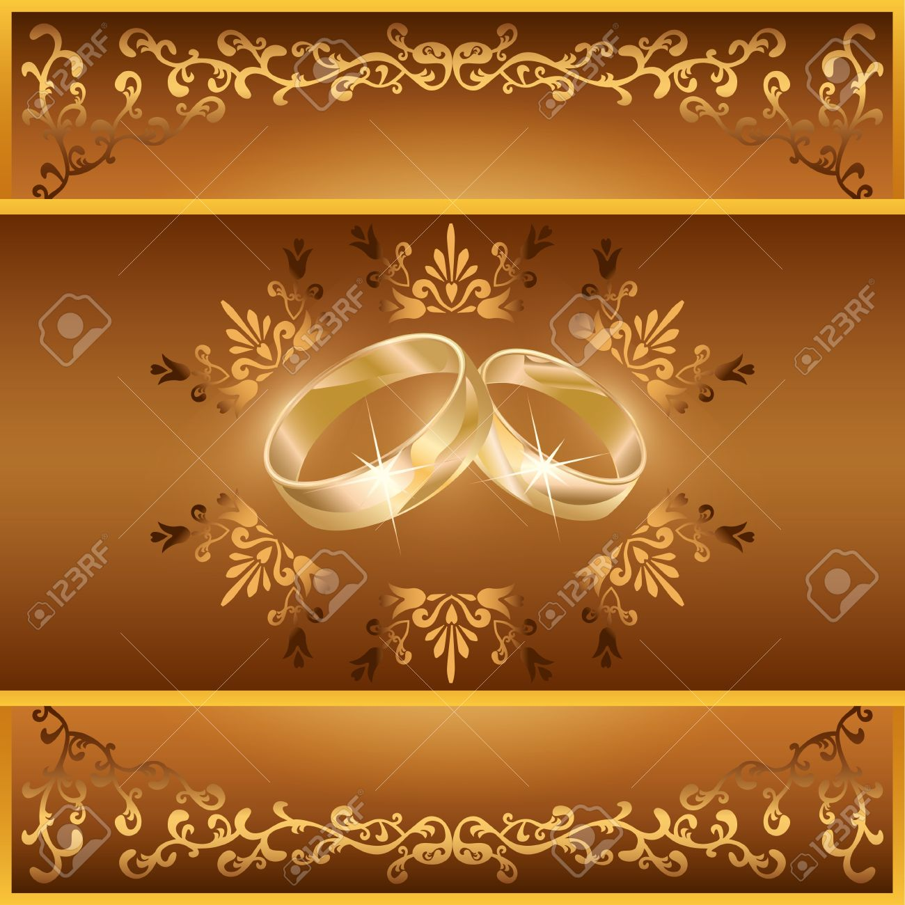Wedding Invitation Or Greeting Card With Two Wedding Rings And