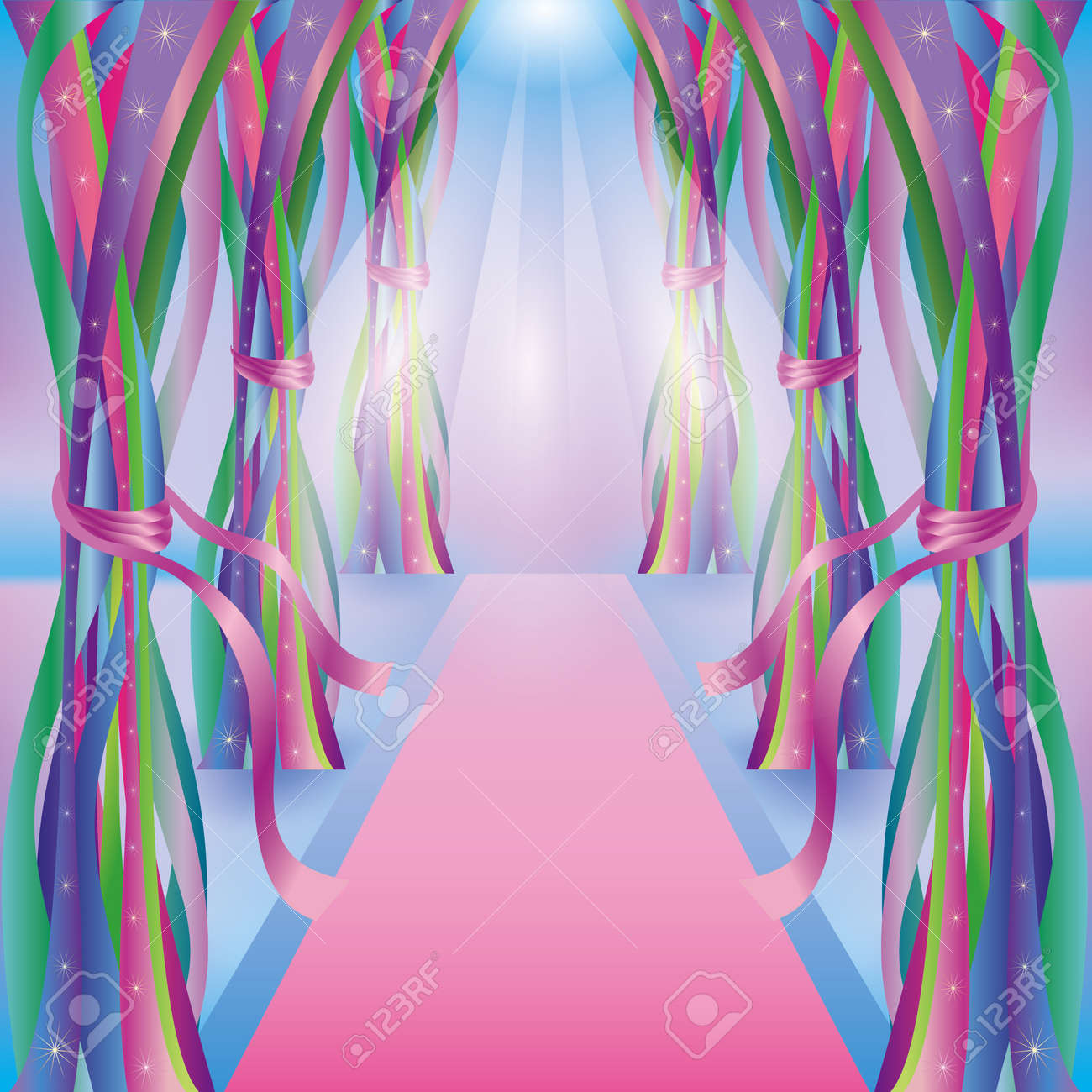Abstract bright background with decorations, colorful ribbons and carpet Stock Vector - 14365361