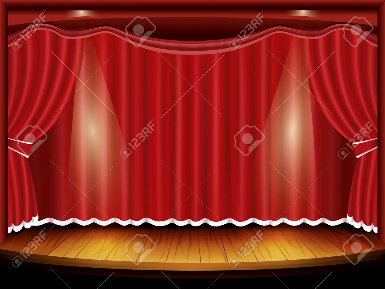 Stage curtains spotlight - Theater Stage With Red Curtain And Spotlight Stock Vector 14597530
