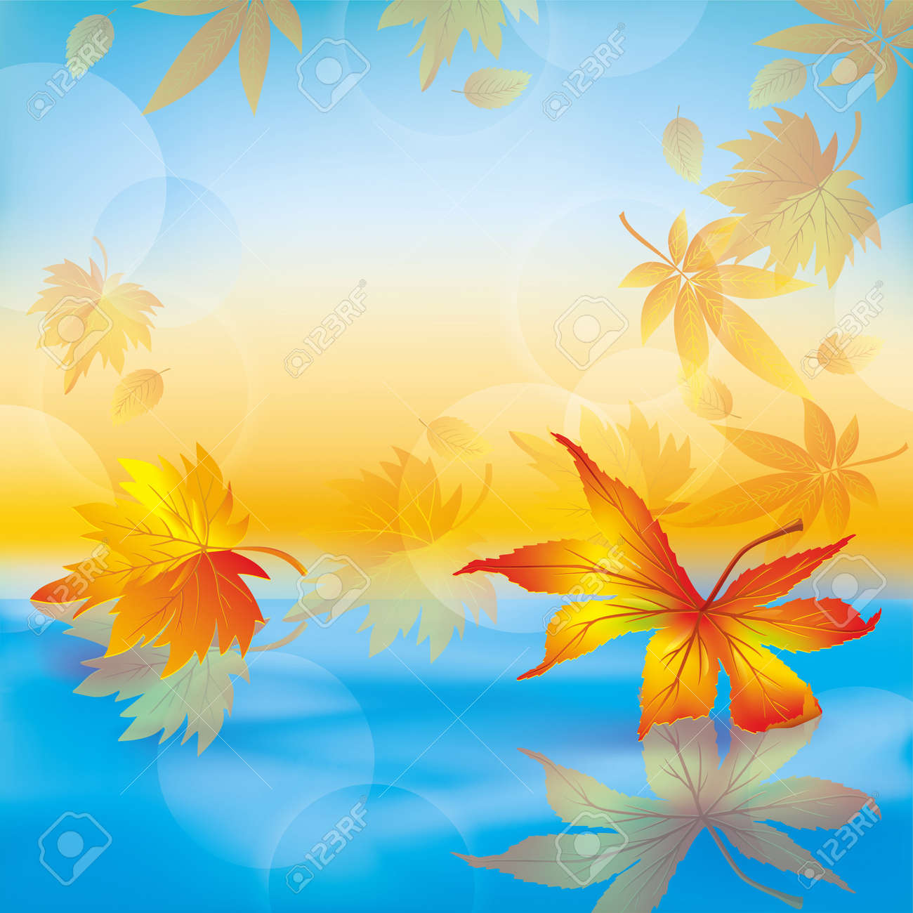 Autumn leaves on blue water, beautiful nature background. Stock Vector - 14689114