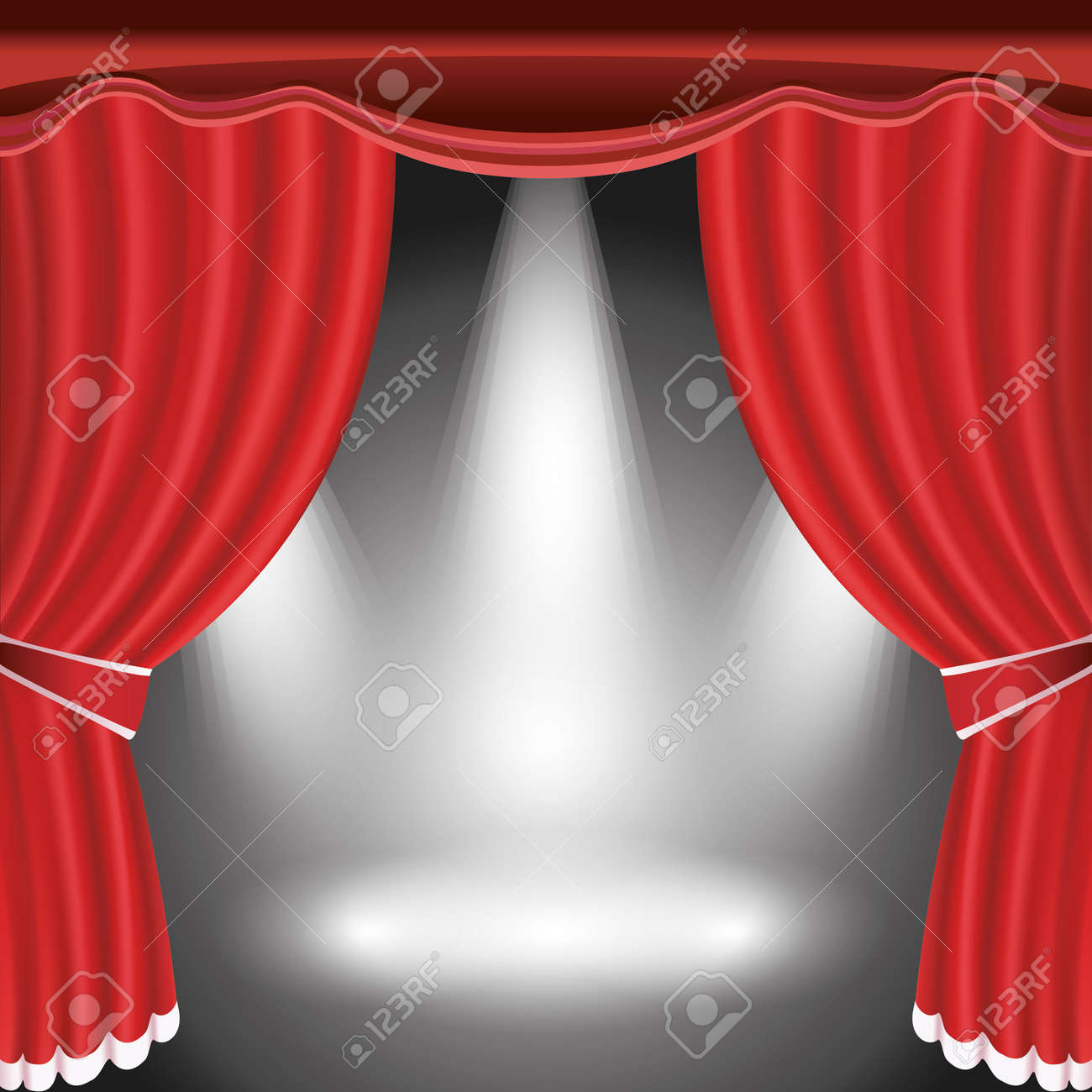 Red curtain spotlight - Theater Stage With Open Red Curtain And Three Spotlight Illustration Stock Vector 14844814