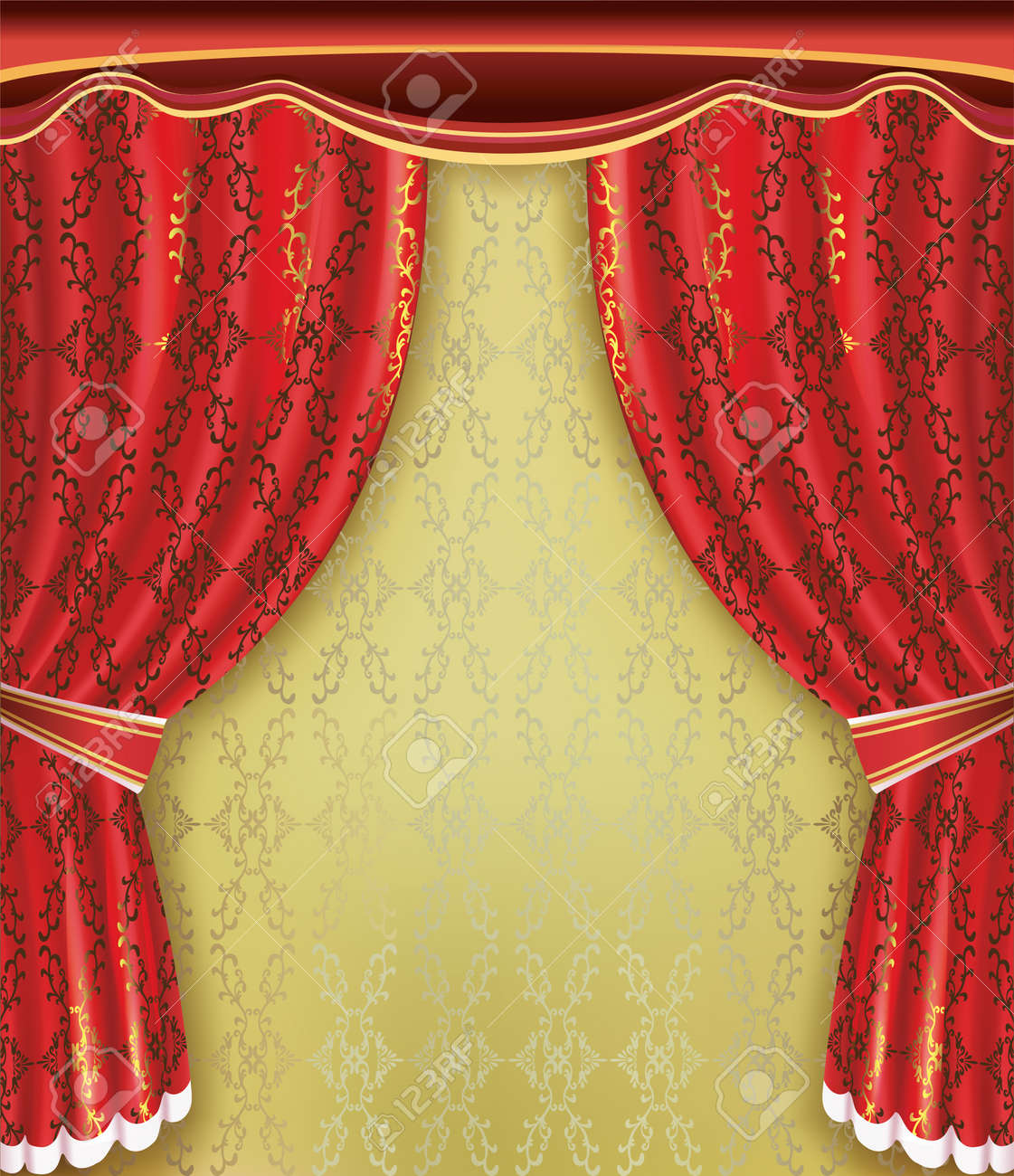 Luxury background  Red curtain with golden pattern and ornament  Place for text Stock Vector - 14891865