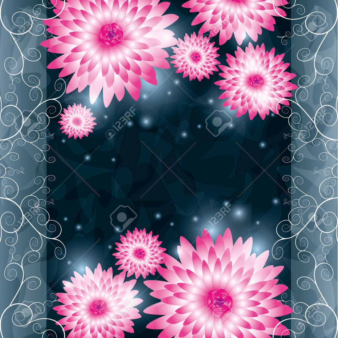 Floral background with pink flowers chrysanthemum and ornament. Greeting or invitation card in retro or grunge style. illustration Stock Vector - 15874402