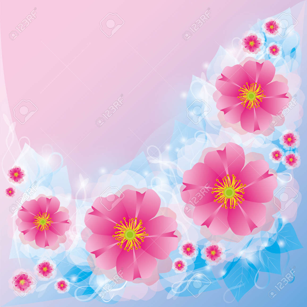 Light Floral Background With Pink Flowers Invitation Or Greeting