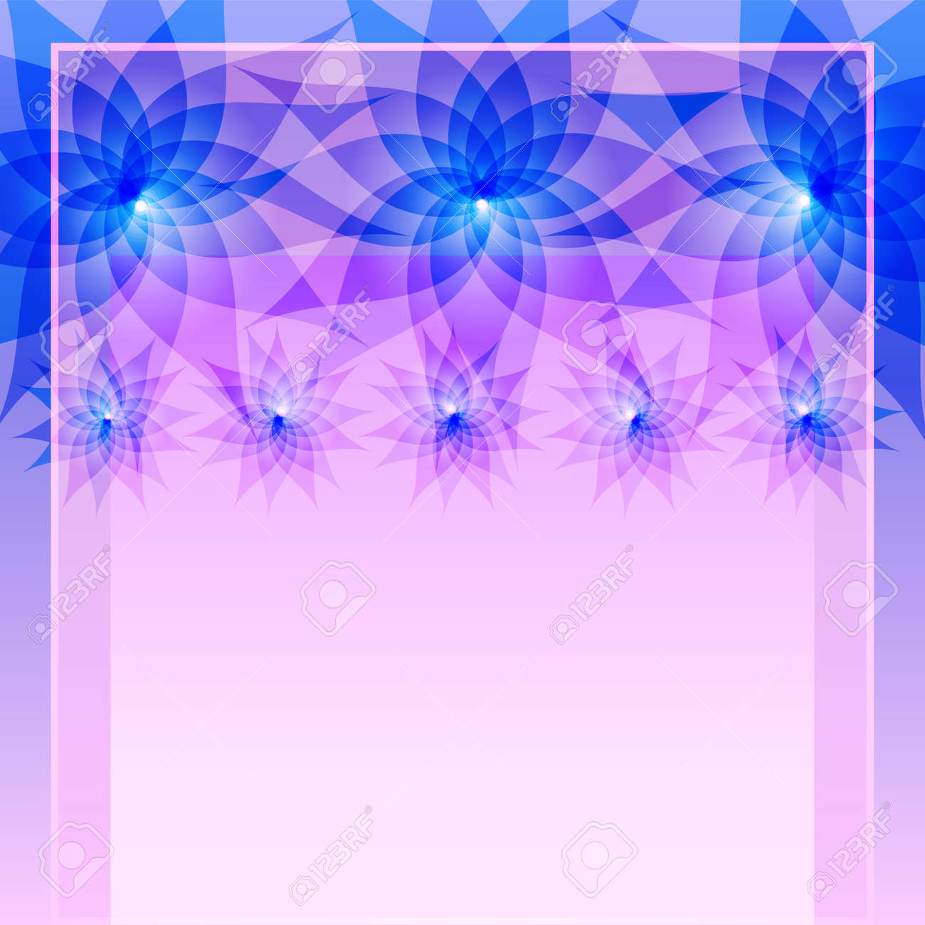 Abstract Floral Blue Purple Background With Flowers Lilies