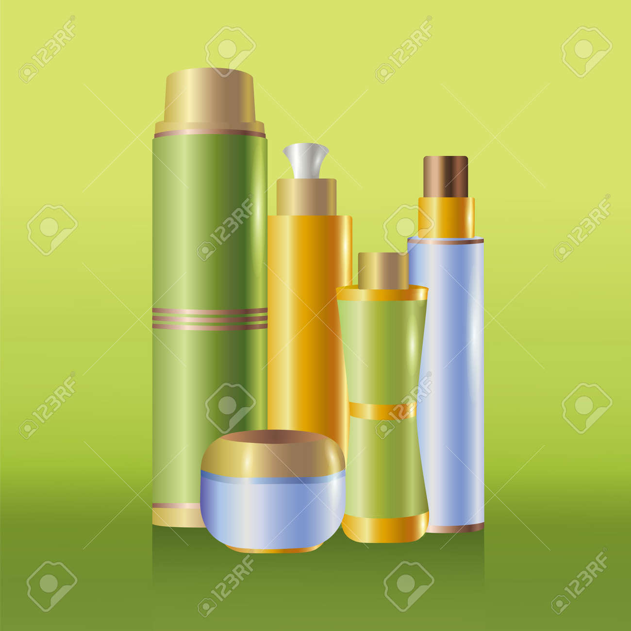 Set of skin care cosmetics, isolated on green background, vector illustration Stock Vector - 18286365