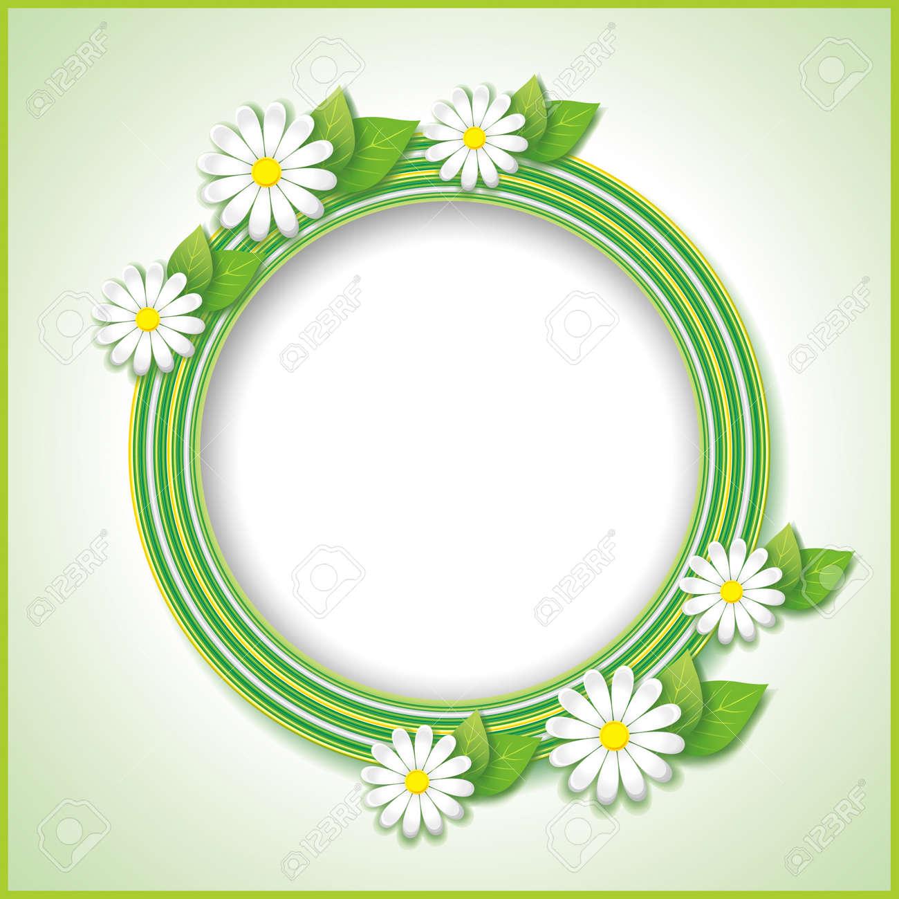 Spring or summer vintage background with flower camomile, floral frame  Vector illustration Stock Vector - 18959329
